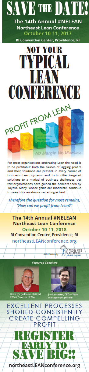 Save the Date 2018 Northeast Lean Conference
